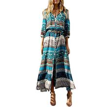Yavero Boho Maxikleid Blumen Lange Sommerkleider Damen Maxi Strandkleid Casual Langarm V-ausschnitt Kleid Blau 2XL