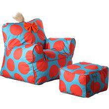 Sweety Toys Kindersessel-Set/ Sessel mit Fusshocker orange-türkis, gefüllt mit Schaumstoff, indoor/outdoor wasserfest türkis/orange