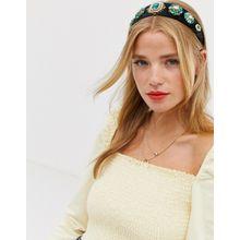 Ashiana – Haarband mit Schmucksteindesign in Smaragdgrün-Mehrfarbig