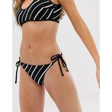 Glamorous - Seitlich gebundene Bikinihose mit Streifen - Mehrfarbig