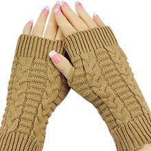 Bluelans® Strick Armstulpen Pulswärmer fingerlos Handschuhe Damenhandschuhe Winterhandschuhe Fäustlinge Fausthandschuhe (Khaki)