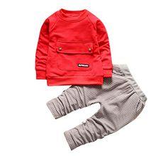 Kobay Kleinkind Kinder Baby Jungen Mädchen Outfits T-shirt Tops + Streifen Lange Hosen Kleidung Set (100 / 3Jahr, Rot)