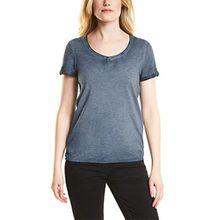 Cecil Damen T-Shirt 311938 Janna, Blau (Deep Blue 10128), Large