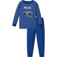SCHIESSER Schlafanzug 'Polizei' blau / hellblau / apfel / naturweiß