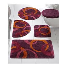Badematte Badteppich mit Kreisen in Aubergine/Orange (50 x 90 cm)
