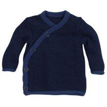 Disana Melange-Jacke aus Merino-Schurwollstrick kbT für Babys (50/56, Blau)