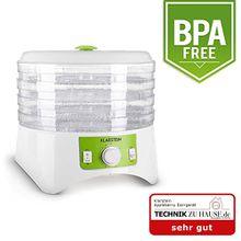 Klarstein Appleberry • Dörrgerät • Dörrautomat • Obst- Fleisch- und Früchte-Trockner • Dehydrator • 400 Watt • 4 Etagen • stapelbar • Deckel • kompakt • 2 Temperaturstufen • Zeitschaltuhr • bis 12 Stunden • einfache Bedienung • BPA-frei • weiß-grün