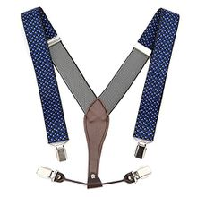 UTOVME Herren Damen Y-Form Hosentraeger mit hochwertiger Leder 4 Clips Vintage Stil in Geschenkkarton Blau Polka Dots