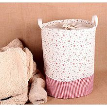 Soriace aufbewahrung, premium foldable cotton line Wäschekorb Klapp Kinder Spielzeug organizer Spielzeug aufbewahrung Spielzeug Warenkorb Kleidung Halter wäschebox mit Deckel gepunktet, kleine Blumen