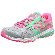 New Balance Unisex-Kinder 680v3 Sneaker, Mehrfarbig (Grey/Pink), 37 EU