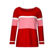 STREET ONE Pullover 'Color Block' rosa / rot / weiß