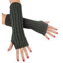 Immerschön Gestrickte Armstulpen zum Lagenlook, fingerlos, Damen Accessory, dunkelgrau, one size