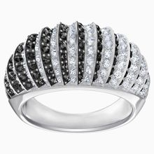 Luxury Domed Ring, schwarz, rhodiniert