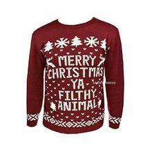 """Neu Herren Damen Weihnachten Pullover Neuheit Pullover Gestrickt Retro Pullover Burgund """"Merry Christmas Ya Filthy Animal"""" - Weinrot, Damen, M/L"""