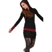 3Elfen Gothic Kleidung modisches Kapuzenkleid Ballonkleid langarm Ballonrock Damen Kleidung schwarz weinrot S