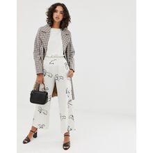 Selected Femme - Gemusterte Hose mit weitem Bein und elastischem Taillenbund - Weiß
