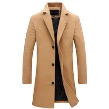 Herren Mantel Slim Fit Gekerbten Kragen Jacke (XL, Camel)