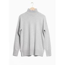 Relaxed Fit Turtleneck Sweater - Grey