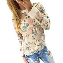 Minetom Damen Casual Lace T-Shirt Tops Kapuzenshirt Blumen Drucken Bluse Pullover Tops ( Blume DE 38 )