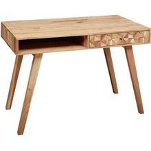 Akazie Massivholz Schreibtisch, B155 x T60 x H77 cm natur