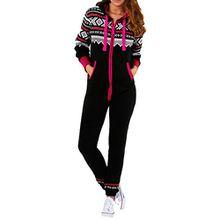Amberclothing Damen Jumpsuit, Aztekisch X-Large Gr. Large, Schwarz - Schwarz