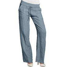 CASPAR KHS025 Damen Leinenhose, Farbe:jeans blau;Größe:40 L UK12 US10