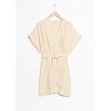 Belted Wrap Mini Dress - Beige