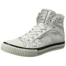 British Knights Damen Dee Sneaker, Weiß (White/Silver Leopard), 38 EU