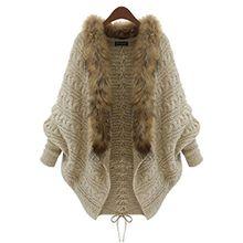 Casual Damen Gestrickt Sweatershirts Pelzkragen Lose Oversized Stricjacke Cardigan Lange mit Offenem Dicker Sweater Mäntel