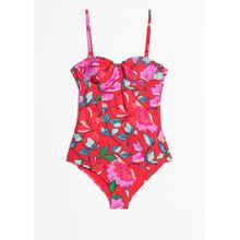 Floral Print Swimsuit - Red
