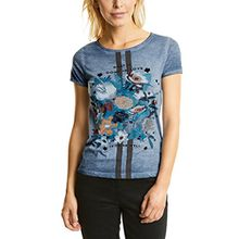 Cecil Damen T-Shirt 311460, Blau (Deep Blue 30128), Large