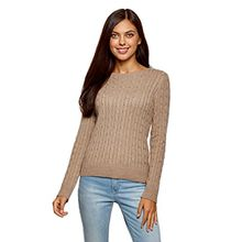 oodji Collection Damen Strickpullover mit Zopfmuster, Beige, DE 34/EU 36/XS