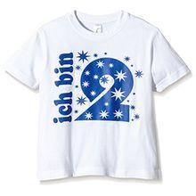 Coole-Fun-T-Shirts Jungen T-Shirt Ich Bin 2 Jahre !, Gr. One Size (Herstellergröße: 92cm/1 Jahr), Weiß (Weiss-Navy)