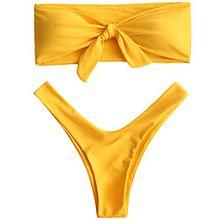 ZAFUL Damen Strapless Knotted High Cut Bandeau Bikini Bademode Bikini Set Badeanzüge Gelb L