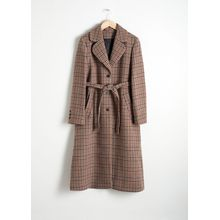 A-Line Wool Blend Belted Coat - Brown