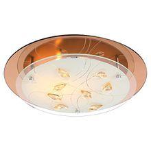 Design Decken Leuchte Chrom Glas Opal Muster Kristalle champagner Globo AYANA 40413-2
