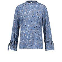 Taifun Bluse Langarm Blusenshirt mit Stehkragen blau Damen