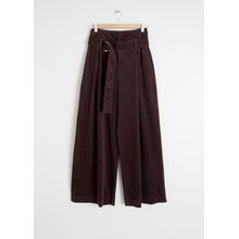 Wide Corduroy Trousers - Brown