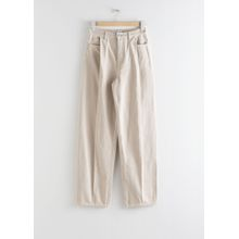 Relaxed High Rise Pleat Jeans - Beige