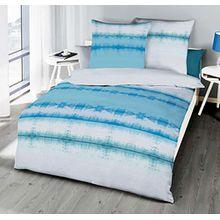Kaeppel Linon Renforcé Bettwäsche 155x220cm 2 tlg. Echo Saphir Blau Gestreift