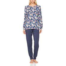 Seidensticker Damen Zweiteiliger Schlafanzug Anzug Lang, Blau (Blau 800), 36