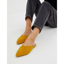 ALDO - Eliliwia - Senfgelbe Pantoletten aus Wildleder mit Webmuster - Gelb
