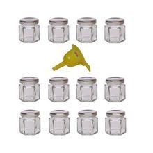 Viva Haushaltswaren 12 x Mini Einmachglas 47 ml mit silberfarbenem Deckel, sechseckige Glasdosen als Marmeladengläser, Gewürzdosen, Gastgeschenk etc. verwendbar (inkl. Trichter Ø 12,3 cm)