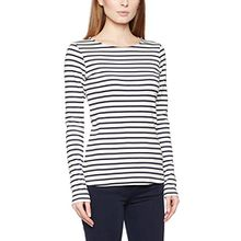 TOM TAILOR Denim Damen T-Shirt Cosy Stripe Longsleeve, Weiß (Off White 8005), 34 (Herstellergröße: XS)