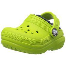 crocs Classic Lined Clog Kids, Unisex - Kinder Clogs, Grün (Volt Green/Navy), 23/24 EU