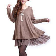 Minetom Damen Strickkleid Langarm Sweatshirt Strickpullover Kleider Pullover Chiffon (Braun EU 34-36 (Tag L))