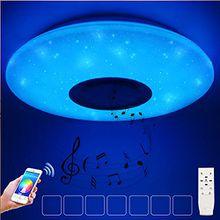 HOREVO 36W Sternenhimmel LED Deckenleuchte mit Bluetooth Lautsprecher Musik Deckenlampe, [APP Kontrolle mit 2.4G Fernbedienung ] [ Ø50cm Dimmbar ], Fit für Kinderzimmer Schlafzimmer Kinder Geschenk
