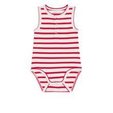 Sleveless Henley Bodysuit - Red