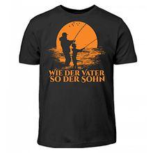 Hochwertiges Kinder T-Shirt - Geschenk für Angler & Fischer - Angeln Fisch Fische Angelrute Vater Sohn Vatertag