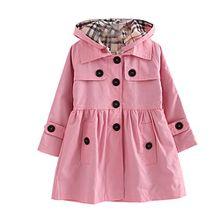 Free Fisher Kinder Mädchen Klassischer Trenchcoat Übergangsjacke mit abnehmbarer Kapuze, Rosa, Gr. 134/140 ( Herstellergröße: 140)